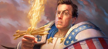 Artist Todd Lockwood's portrait of Stephen Colbert as a 'true American hero.' (photo: toddlockwood.com )