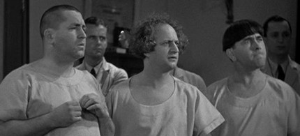 The Three Stooges were famously 'mistaken' for physicians in 'A Gem of a Jam.' (photo: ovguide.com)