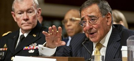 Defense Secretary Leon Panetta testifying before Congress, seated next to Chairman of the Joint Chiefs of Staff Martin Dempsey. (photo: Department of Defense)