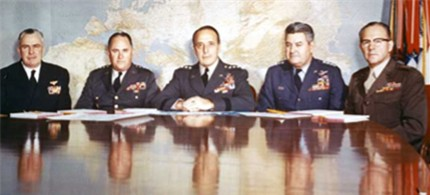 General Lyman Lemnitzer, center, and the Joint Chiefs of Staff concocted a 'top secret' plan to create a pretext for an invasion of Cuba in 1962. (photo: National Archives)