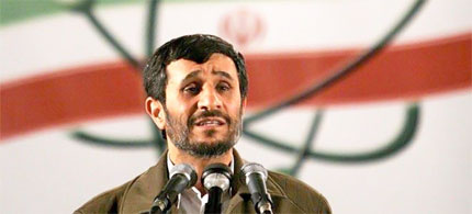 Iranian President Mahmoud Ahmadinejad speaks during a ceremony at the Natanz nuclear enrichment facility. (photo: Reuters)