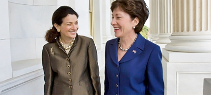 Maine's Republican senators, Olympia Snowe (left) and Susan Collins are members of Wish List, a dwindling group of female Republican politicians who are pro-choice. (photo: Harry Hamburg/AP)
