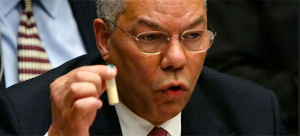 Colin Powell addresses the UN Security Council five weeks before the US-led invasion of Iraq, 02/05/03. (photo: Mario Tama/Getty Images)