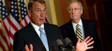 Speaker John Boehner (with Senate Minority Leader Mitch McConnell) has suggested Republicans may renege on last year's debt-ceiling deal. (photo: Win McNamee/Getty Images)