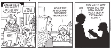 The banned Doonesbury Abortion Cartoon: Part 1. (image: Universal Uclick)