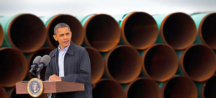 President Obama voiced his support for expedited construction of the southern half of the Keystone XL oil pipeline on Thursday in Ripley, Okla. (photo: Doug Mills/NYT)