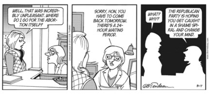 The banned Doonesbury Abortion Cartoon: Part 6. (image: Universal Uclick)