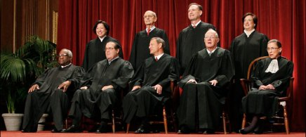 The justices of the US Supreme Court, 10/08/11. (photo: Pablo Martinez Monsivais/AP)