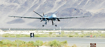 A conventionally powered MQ-9 Reaper drone, which has a flight time of 14 hours when loaded, could fly far longer with nuclear energy. (photo: Ethan Miller/Getty)