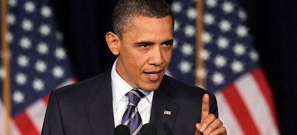 President Obama came out swinging yesterday, denouncing the GOP budget. (photo: Getty Images)