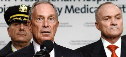 Mayor Bloomberg has come under fire from civil libertarians for powers extended to Ray Kelly and the NYPD. (photo: Viorel Florescu/New York Daily News)