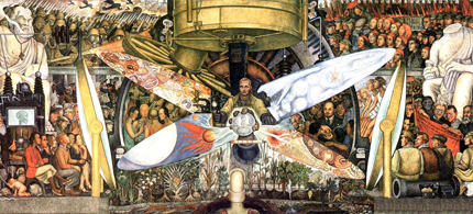 John D. Rockefeller, Jr. commissioned Mexican muralist Diego Rivera to paint a mural at the lobby entrance of the Rockefeller Center. Rockefeller took exception to Rivera's interpretation and ordered the destruction of Rivera's work, shown above. (image: marxists.org)