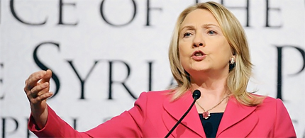 Secretary of State Hillary Clinton, the Syrian National Council at the Istanbul Congress Center. (photo: AP)