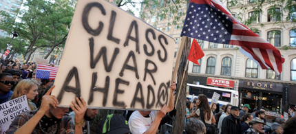 Occupy protesters warn of class war ahead. (photo: AFP)