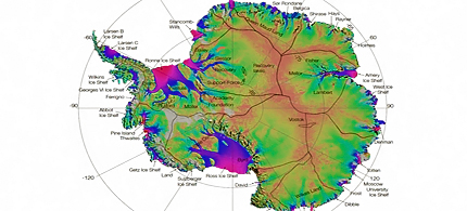First complete map of the speed and direction of ice flow in Antarctica. (image: NASA/JPL-Caltech/UCI)