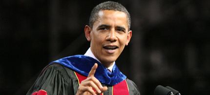 President Barack Obama addressed a crowd of 71,000 people at Sun Devil Stadium, during Arizona State University's 2009 Spring Commencement. (photo: Tom Story)