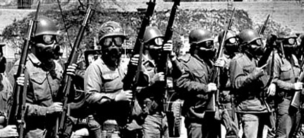 The Ohio National Guard 42 years ago preparing to fire on students at Kent State. (photo: wiki commons)