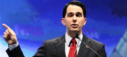 Wisconsin Gov. Scott Walker speaks at the National Rifle Association convention in St. Louis, 04/13/12. (photo: AP)