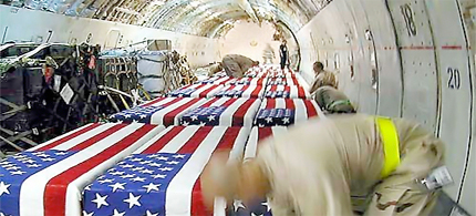 Flag-draped coffins inside a cargo plane at Kuwait International Airport in 2004. (photo: AP)