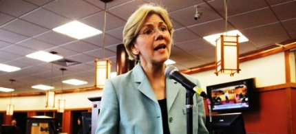 Sen. Elizabeth Warren speaks to reporters during a news conference, 05/02/12. (photo: Steven Senne/AP)