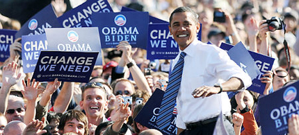 Presidential candidate Barack Obama on the campaign trail. (photo: Corbis)