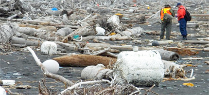 An unprecedented surge in debris from last year's Japanese tsunami is washing up on Alaska's coastline. (photo: Alaskan Coastal Studies)