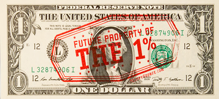 Dollar bill rubber stamped with Occupy message. (photo: OccupyGeorge.com)