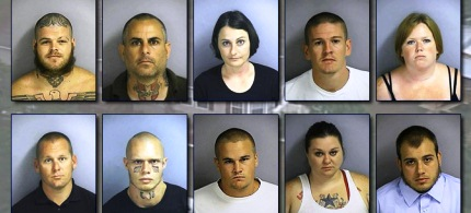 Mugshots of 10 alleged members of the neo-Nazi skinhead group American Front. (photo: CFNews13.com)