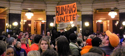 Wisconsin protesters inside the State Capital. (photo: WP)