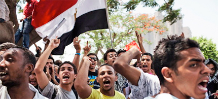 Protesters outside the Supreme Constitutional Court in Cairo on Thursday. (photo: Adam Ferguson/NYT)