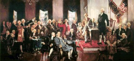 Illustration, the signing of the US Constitution. (photo: GenealogyOfConsent.WordPress.com)