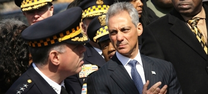 Rahm Emanuel speaks with Police Superintendent Gary McCarthy at a press conference in Chicago. (photo: Scott Olson/Getty Images)