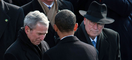 President Barack Obama shakes hands with president George W. Bush as vice-president Dick Cheney looks on during Obama's inauguration as the 44th President of the United States of America January 20, 2009. (photo: Justin Sullivan/Getty Images)