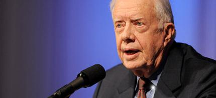 Former President Jimmy Carter speaks at The Carter Center in Atlanta. (photo: Erik S. Lesser/AP)