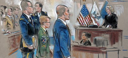 Bradley Manning center, stands before Army Judge Col. Denise Lind with his defense team. (illustration: via AP)