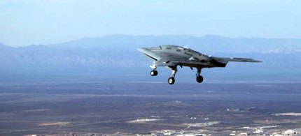 A US drone flies over Edwards Air Force Base. (photo: Keystone/Zuma/Rex Features)
