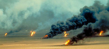 Oil wells burning in the Persian Gulf. (photo: Reuters)