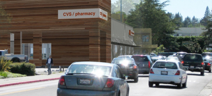 National credit tenants CVS Pharmacy and Chase Bank are planning a redevelopment project at the main crossroads of the small town of Sebastopol, California, known widely for its green politics. (photo: Kellogg-Associates)
