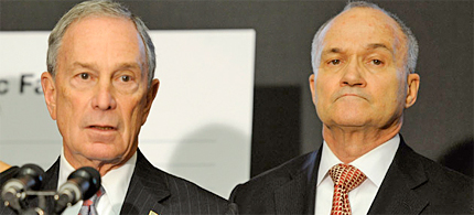 New York City Mayor Michael Bloomberg, left, speaks at a news conference as Police Commissioner Ray Kelly listens in Brooklyn, N.Y., on Dec. 29, 2011. (photo: Henny Ray Abrams/AP)