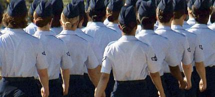 Female airmen march during graduation at Lackland Air Force Base in San Antonio, Texas. (photo: John L. Mone/AP)