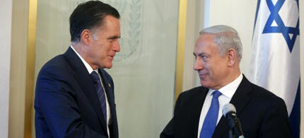 Republican presidential candidate Mitt Romney shakes hands with Israeli Prime Minister Benjamin Netanyahu before a meeting at the Prime Minister's office in Jerusalem, Israel, 07/29/12. (photo: Getty Images)