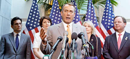 House Speaker John Boehner of Ohio, center, joined by other House GOP leaders, gestures during a news conference on Capitol Hill in Washington, Wednesday, June 27, 2012, following a political strategy session. From left are, House Majority Leader Eric Cantor of Va., Rep. Cathy McMorris Rodgers, R-Wash., Boehner, Rep. Renee Ellmers, R-NC, and Rep. Bill Flores, R-Texas. (photo: J.Scott Applewhite/AP)