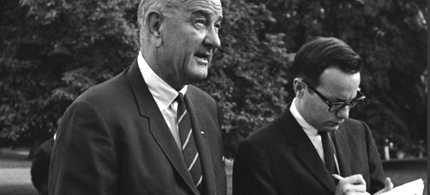 Bill Moyers (right) with President Lyndon Johnson during the fight for Medicare. (photo: PBS)