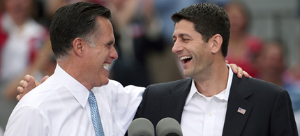 Mitt Romney shares a laugh with Paul Ryan after a gaffe by Romney. (photo: Win Mcnamee/Getty Images)