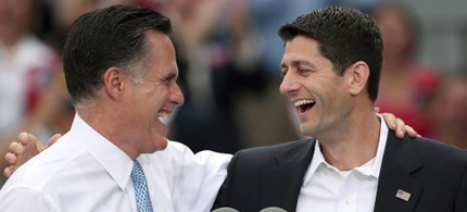 GOP presidential candidate Mitt Romney introduces his running mate, Rep. Paul Ryan. (photo: Win McNamee/Getty Images)