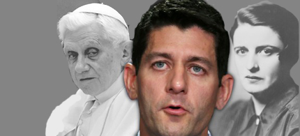 Paul Ryan with images of Ayn Rand and the Pope in the background. (image: Salon)