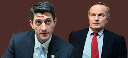 Missouri Congressman Todd Akin, right, a Republican currently running for the US Senate, listens to House Budget Committee Chairman Paul Ryan, R-Wis., before a news conference on Ryan's budget agenda, on Capitol Hill in Washington. (photo: J. Scott Applewhite/AP)