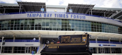 A Tampa police armored vehicle is parked outside The Tampa Bay Times Forum in downtown Tampa. (photo: Brian Blanco/Reuters)