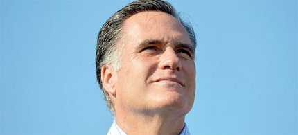 Republican presidential candidate Mitt Romney looks on as his running mate Paul Ryan speaks during a campaign rally in Powell, Ohio, 08/25/12. (photo: Jewel Samad/AFP/GettyImages)
