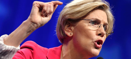 Elizabeth Warren delivered a blistering attack on Wall Street on Wednesday night at the DNC.  (photo: Getty Images)